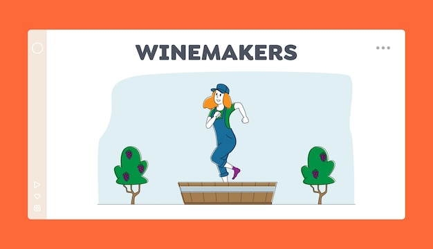 Шаблон посадочной страницы процесса виноделия Premium векторы