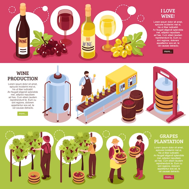 Винзавод изометрических горизонтальных баннеров красного и белого вина производства напитков и плантации винограда Бесплатные векторы