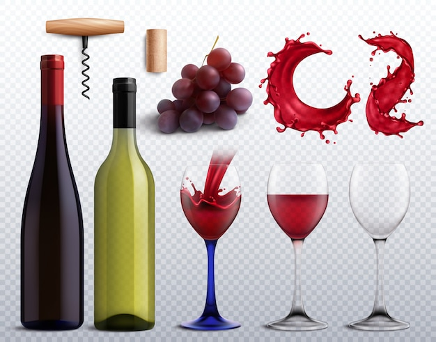 Winery set with grapes, bottles and glasses Free Vector