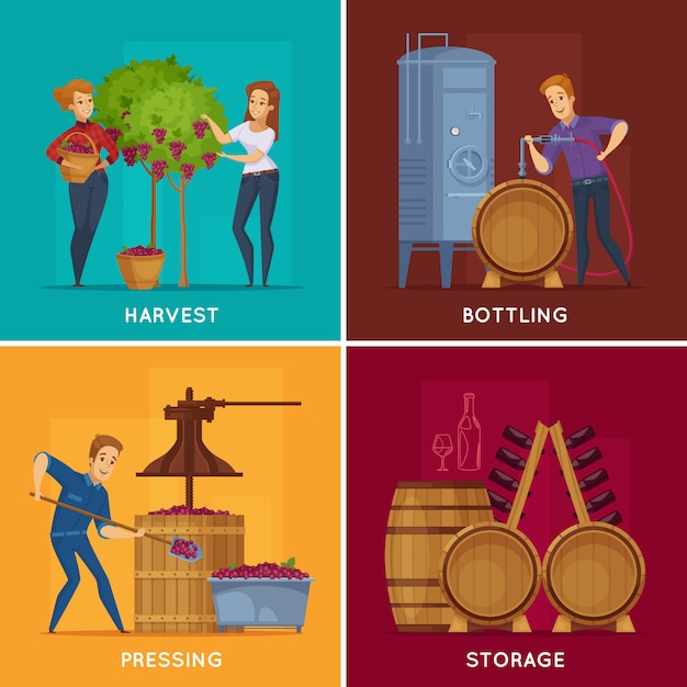 Winery wine production cartoon concept Free Vector