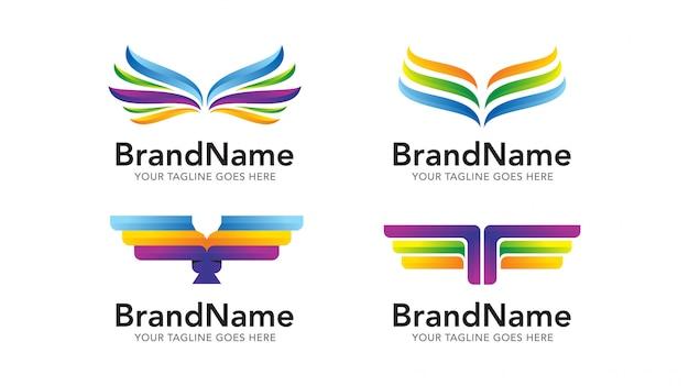 Набор шаблонов логотипа крыла орла Premium векторы