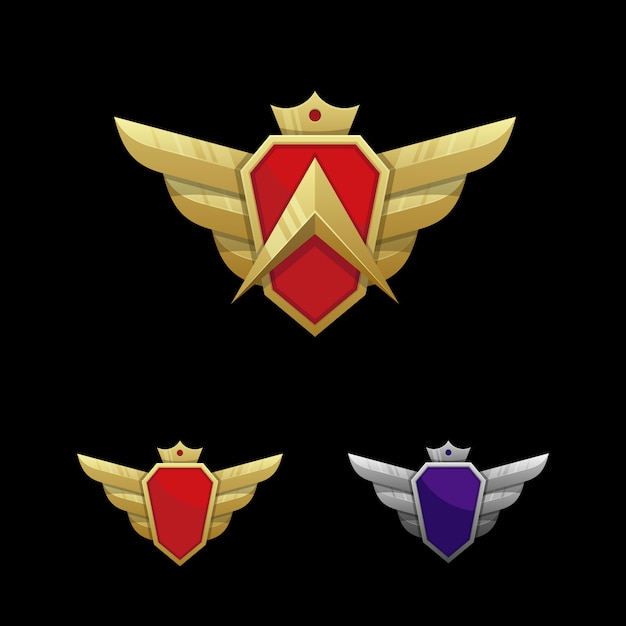 Wing emblem illustration vector template Premium Vector