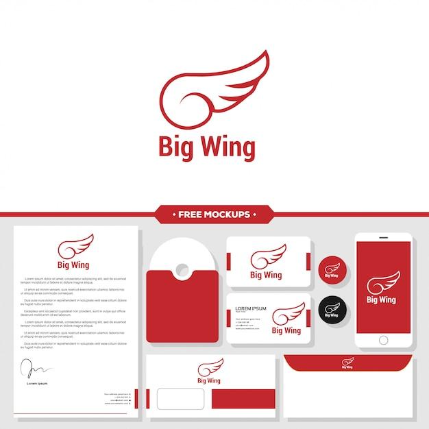 Wing graphic icon design template isolated Premium Vector