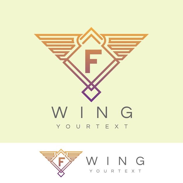 ウィング初期のレターfロゴデザイン Premiumベクター