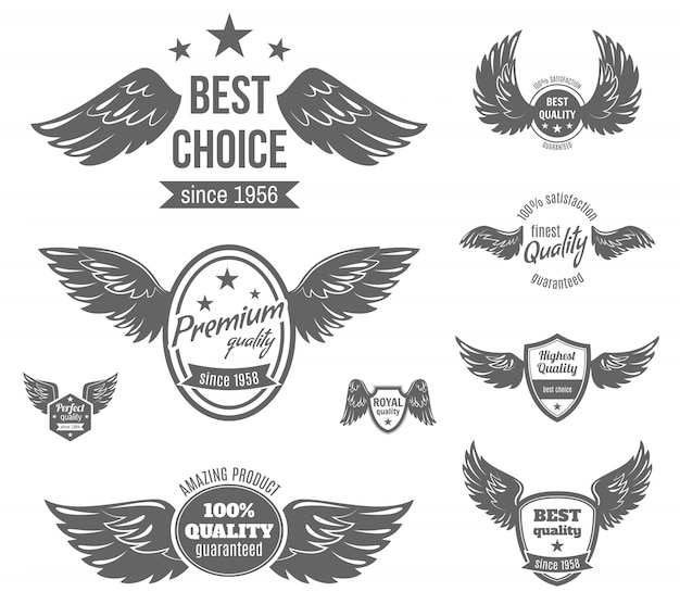 Wing label black Free Vector