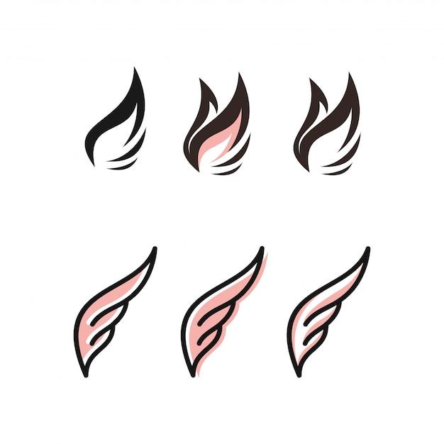 Wing logo bundle Premium Vector