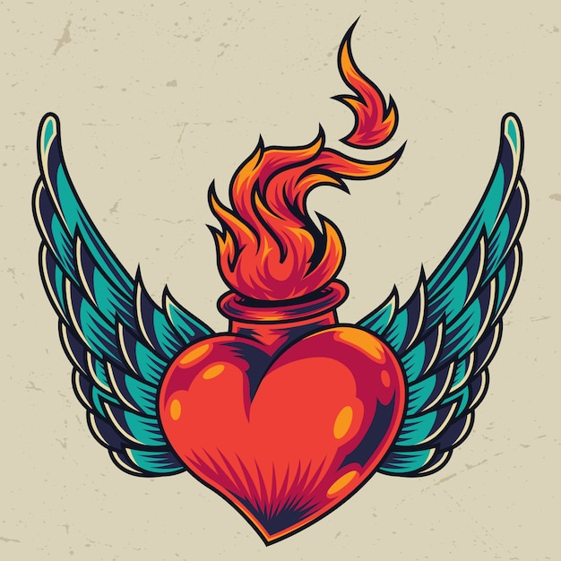 Winged fiery red heart concept Free Vector