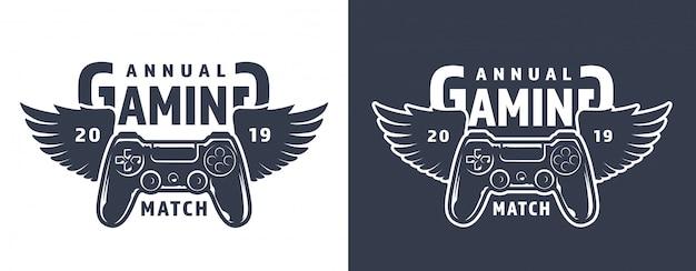 翼のあるゲームパッドのエンブレム 無料ベクター