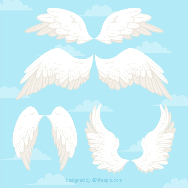Wings of angels white Free Vector