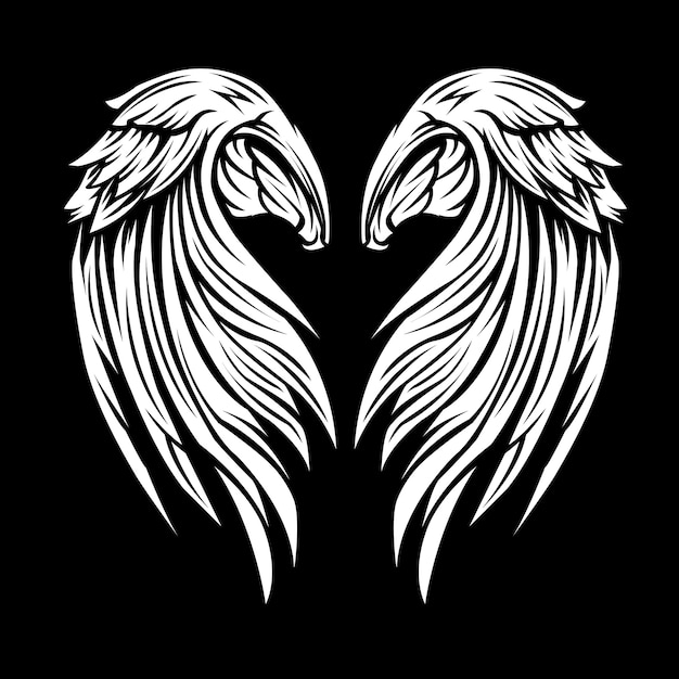 Wings black and white Premium Vector
