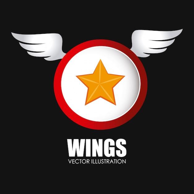 Wings design over black background vector illustration Premium Vector