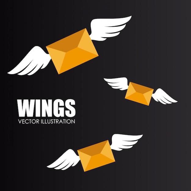 Wings design over gray background vector illustration Premium Vector