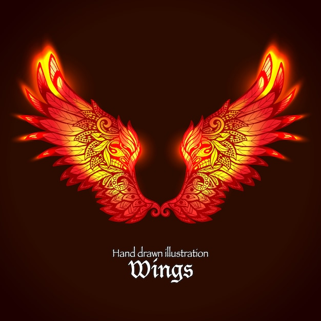 Wings and flame Free Vector