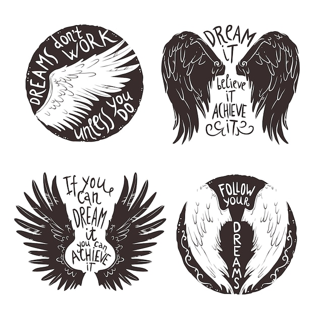 Wings label set Free Vector