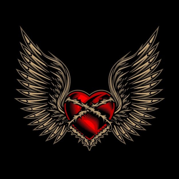 Wings love vector illustration Premium Vector