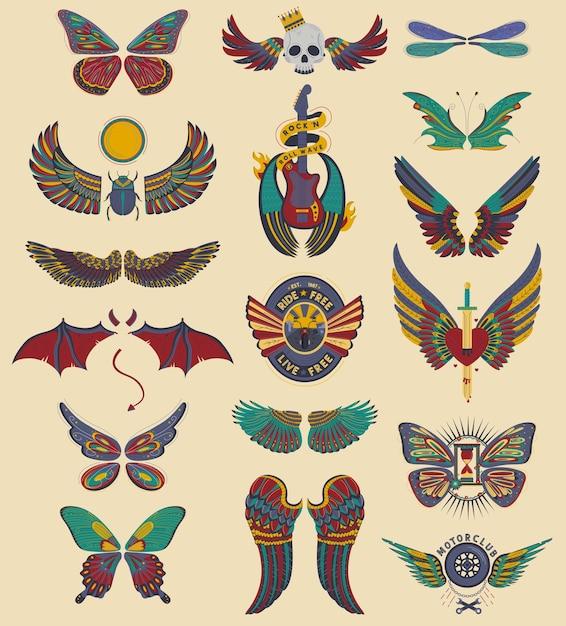 Набор крыльев ангела, изолированные на бежевом Premium векторы
