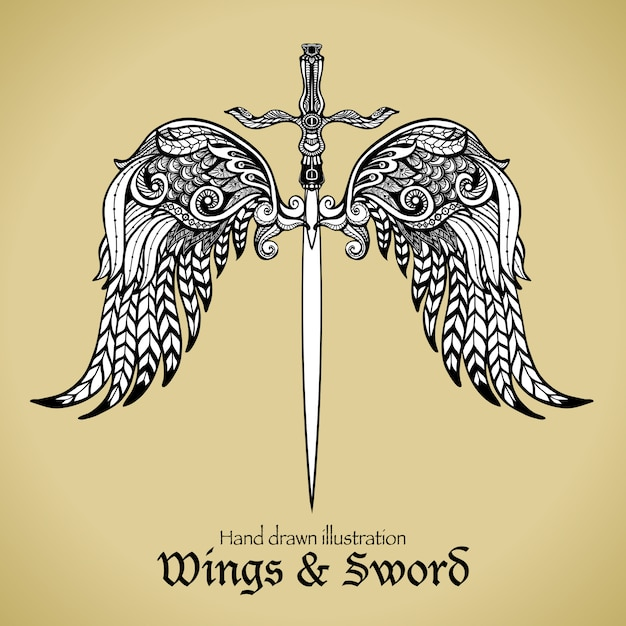 Wings and sword Free Vector