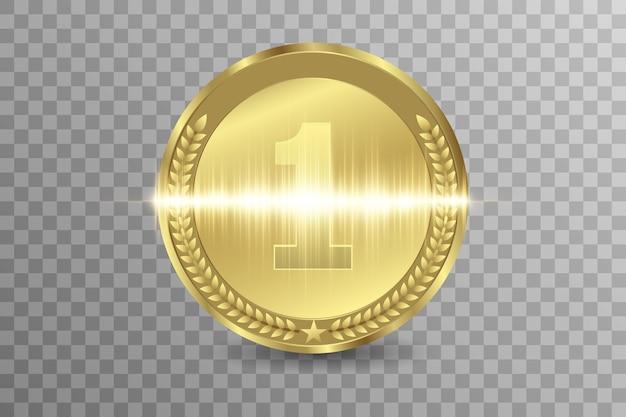 우승자 상 대회, 상금 메달 및 텍스트 배너. 프리미엄 벡터