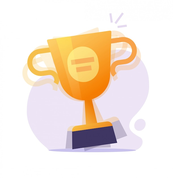 Winner award prize and surprise with gold cup  or champion contest achievement gift reward golden trophy flat cartoon Premium Vector
