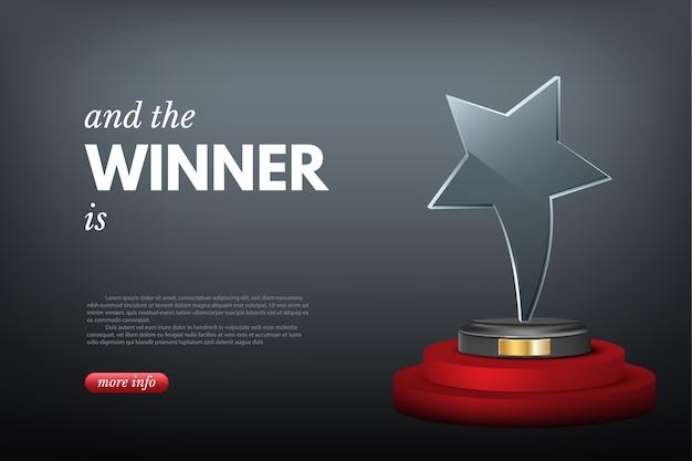 Награда победителя, победа в конкурсе или бизнес-вызов. Premium векторы