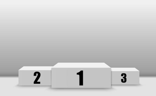 Победитель фон с признаками первого, второго и третьего места на постаменте. победитель подиума спортивных символов. Premium векторы
