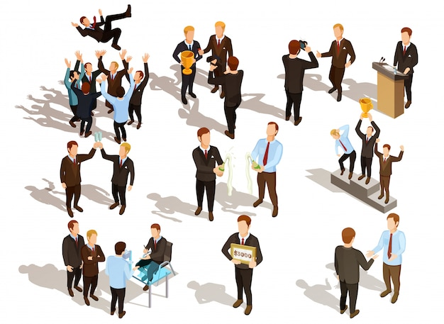 Winner business people set Free Vector