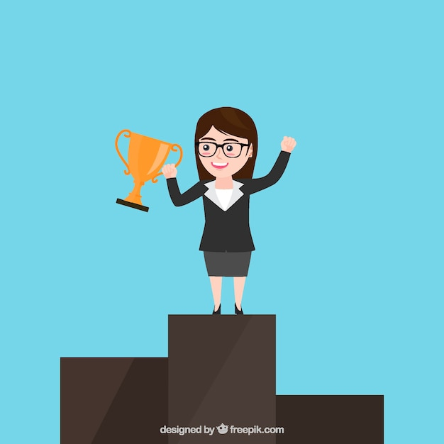 Winner business woman character Free Vector