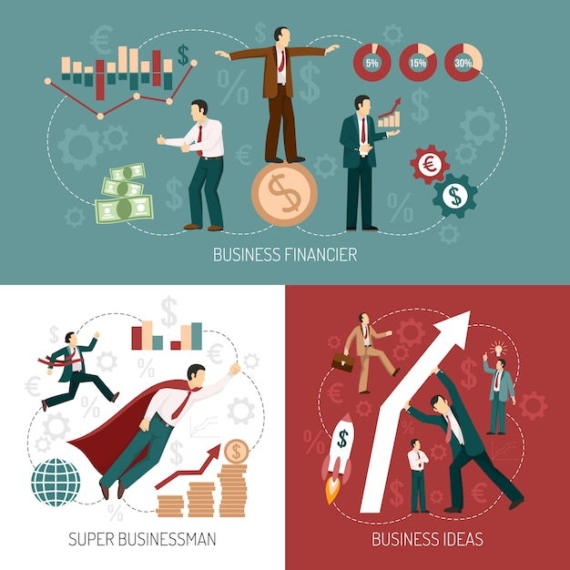 Winner businessman flat icons banner square Free Vector
