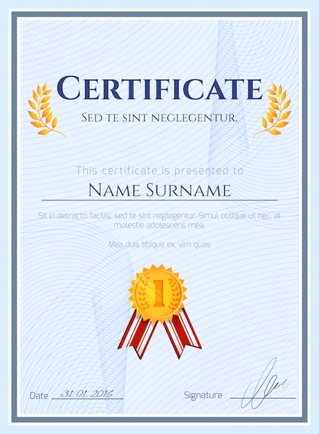 Winner Certificate With Seal Free Vector  Certificate Winner