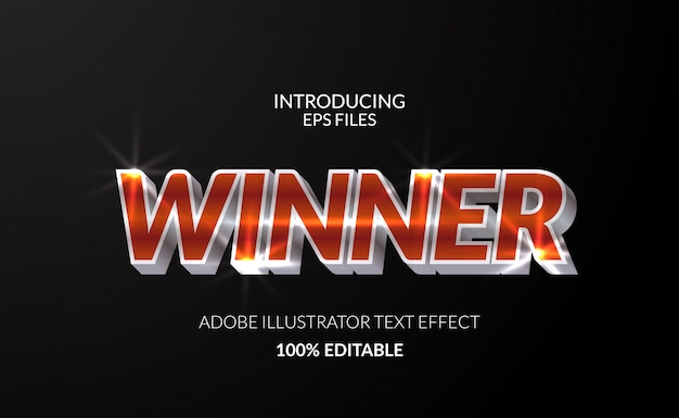 Winner champion with metal chromium shining color text effect. editable text and font. glossy shining effect Premium Vector