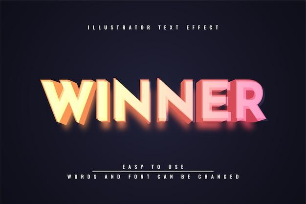 Победитель - редактируемый текстовый эффект Premium векторы