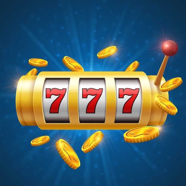 Winner gambling vector background with slot machine. casino jackpot concept Premium Vector