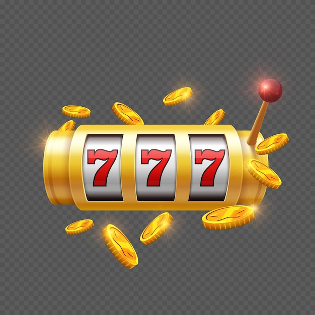 Winner gambling with slot machine isolated Premium Vector