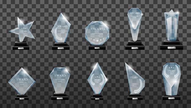 우승자 유리 트로피. Glass Trophy Award. 1 등 상, 크리스탈 상, 사인 아크릴 트로피. 프리미엄 벡터