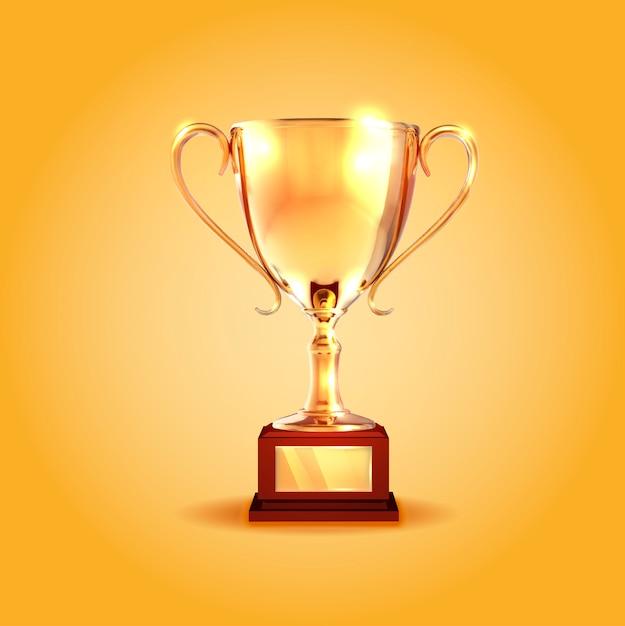 Winner gold cup. Premium Vector