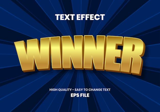 Winner gold text teffect Premium Vector