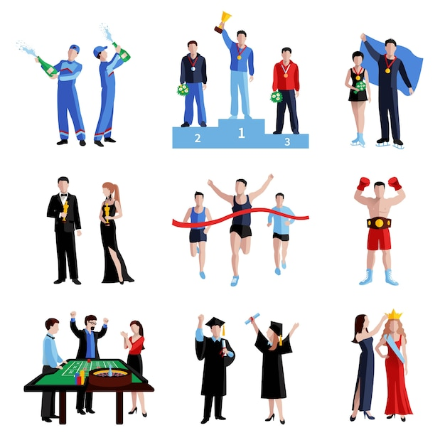 Winner icons set with sport education and arts Free Vector