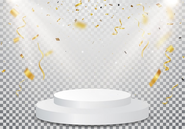 Победитель подиума с золотым конфетти на прозрачном Premium векторы