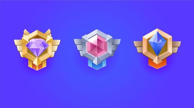 Winner's medal. diamond reward medal set for game ui. Premium Vector