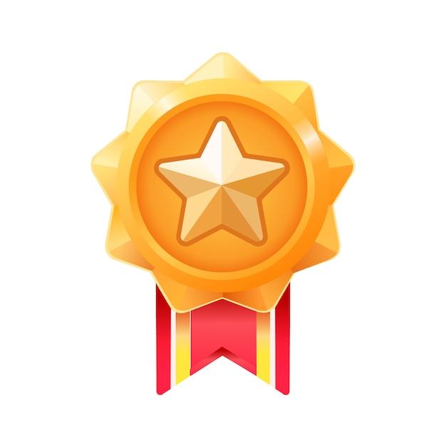 Медаль победителя. золотая награда медаль за игру ui. премия Premium векторы