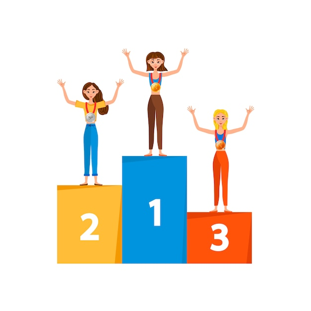 Winner Women With Medals On A Pedestal On White Background