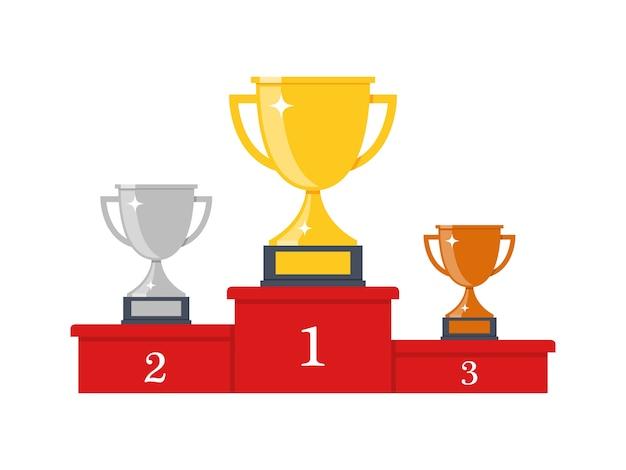 Подиум победителей с кубками. призы для чемпионов. золотые, серебряные и бронзовые кубки. иллюстрация в плоском стиле. Premium векторы