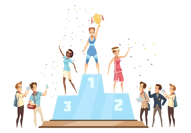 Winners podium Free Vector