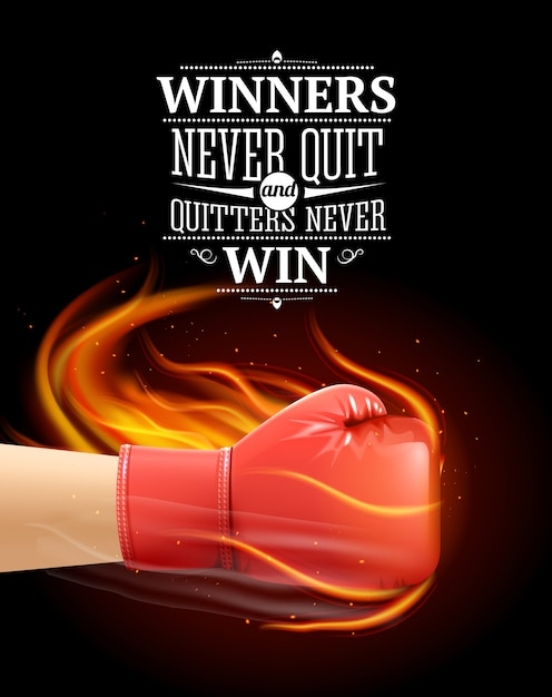 Winners and quitters quotes with sports symbols and boxing realistic illustration Free Vector
