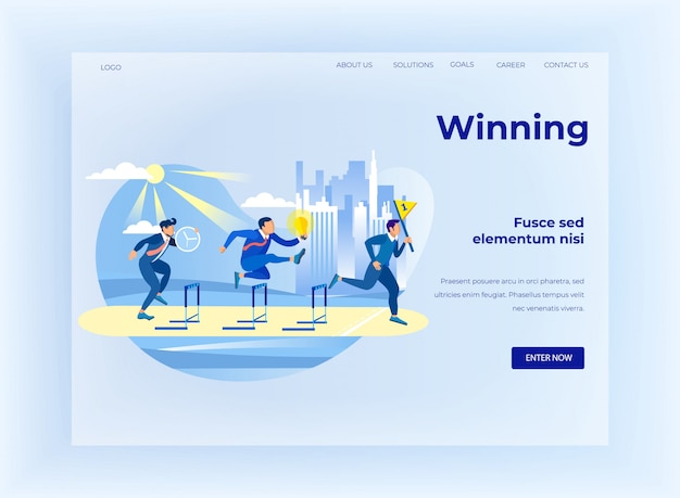 Winning on business competition flat landing page Premium Vector