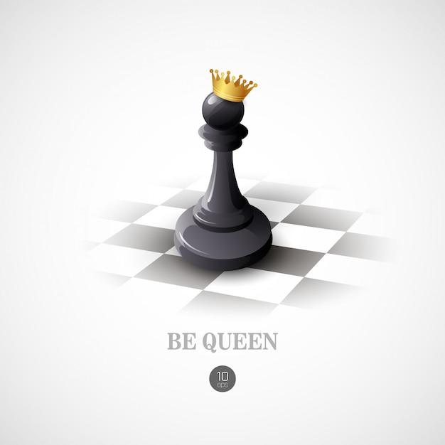 Winning chess concept.  background Premium Vector