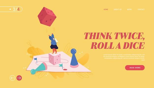 Webデザイン、バナー、モバイルアプリ、ランディングページの女性イラストを受賞。戦略的計画、チームワークの概念、ビジネスリスク。人々は、サイコロを投げてボードゲームをするキャラクターです。 Premiumベクター