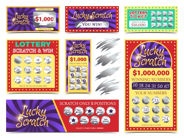 Winning lotto tickets and scratch cards vector set Premium Vector