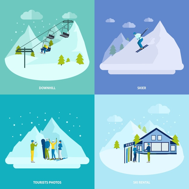 Winter active rest in mountains design concept set Free Vector