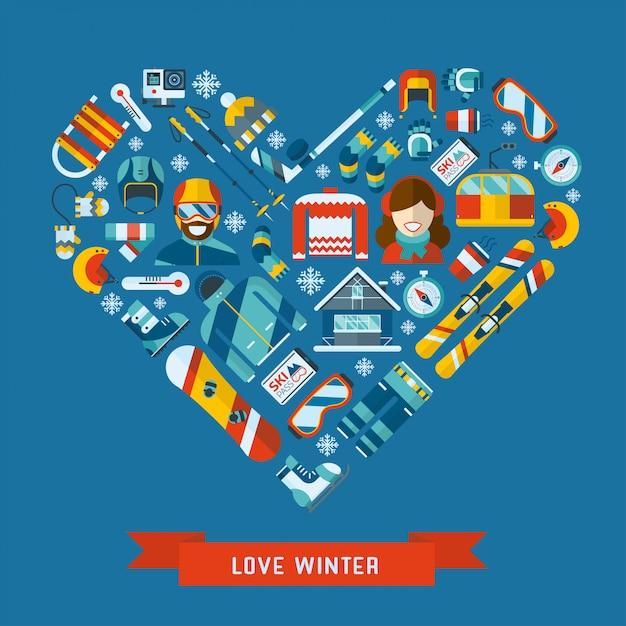 Winter activity flat icon in heart shape. love winter concept banner template. Premium Vector